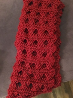 Close-up of my latest project. I used chunky yarn and the Vogue Knitting (Summer 2005) antique lace pattern.