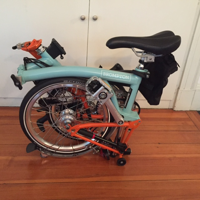 The Brompton folded compactly