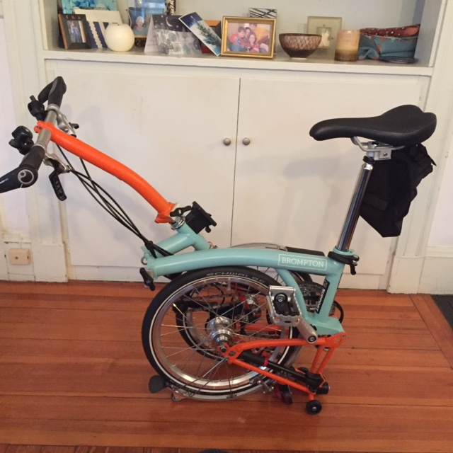 The Brompton with handlebars in place