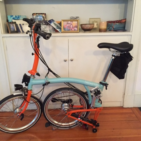 The Brompton almost ready-- front wheel in place