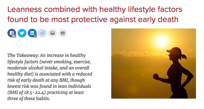 """The title reads """"leanness combined with healthy lifestyle factors found to be most protective against early death"""", and the graphic shows a lean female runner's silhouette."""