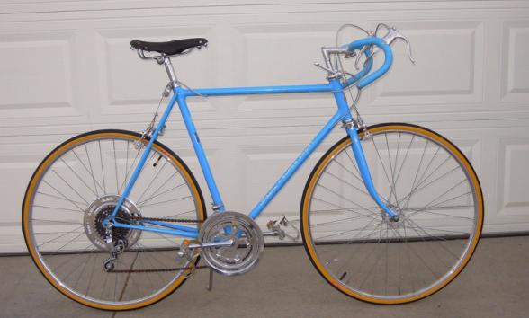 A powder blue Schwinn 10-speed bike from 1972