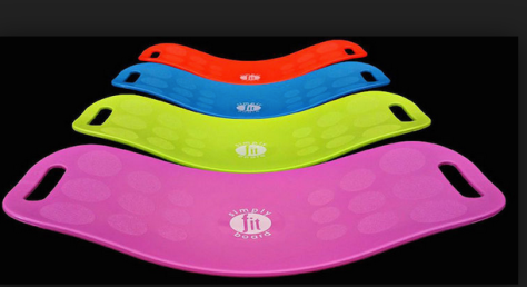 Curved plastic balance boards, in pink, green, blue and red