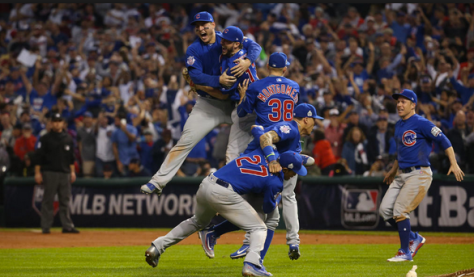 The Chicago Cubs, jumping and celebrating their World Series win