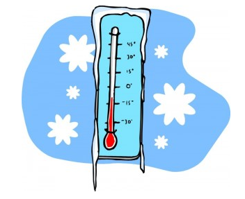 a thermometer with icecicles, surrounded by snowflakes