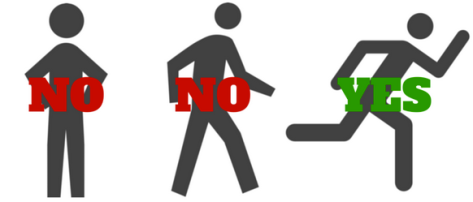 three stick figures--standing with no, walking with no, running with yes