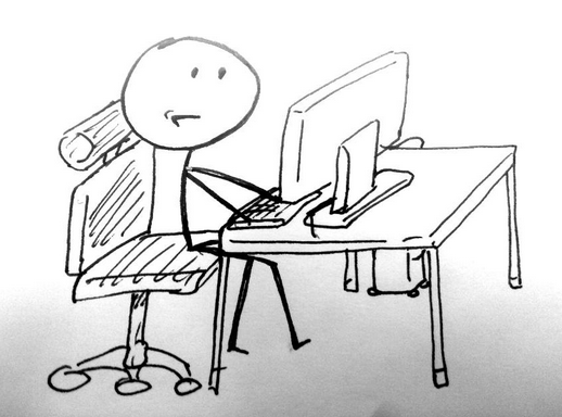stick figure working at computer