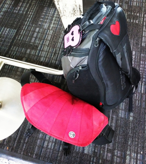 red briefcase, black slingbag with pink skull name tag