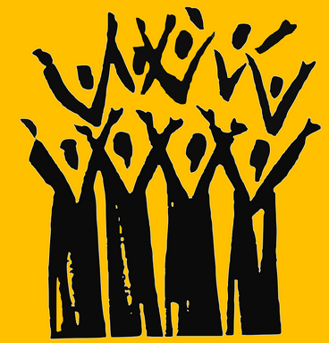 Yellow and black graphic of choir members with arms raised in joy