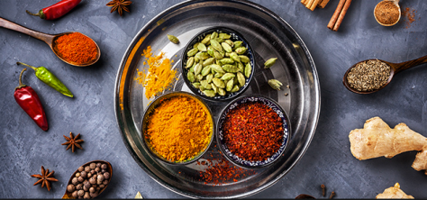 Spices representing six tastes of Ayurveda