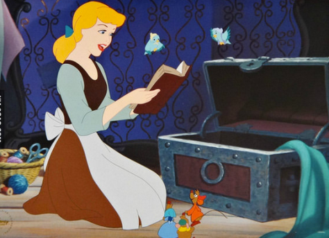 Cinderella singing to birds and mice