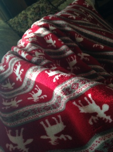 Red and white printed blanket covering a person