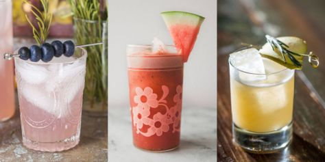 image description: this colour photo has three separate panels, each with a mocktail. The first is a light pink drink over ice in a frosted glass with a garnish of five blueberries on a clear plastic skewer and a spring of rosemary. the second is a red smoothie-style drink in a clear glass with a frosted floral pattern on it and a garnish of watermelon; the third is a low glass with a yellow drink over ice, garnished with lime and rosemary.