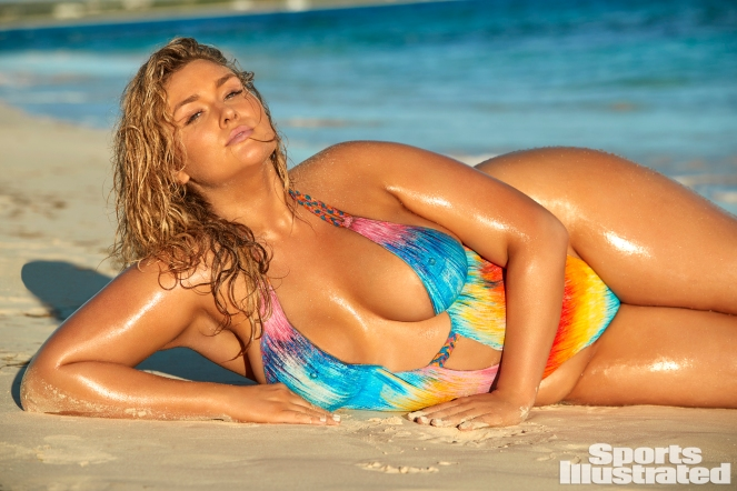 This color image shows swimsuit model Hunter McGrady, a white