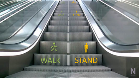 "Image of an escalator, grey, with the word ""walk"" on the left side in green and ""stand"" on the right side in orange."