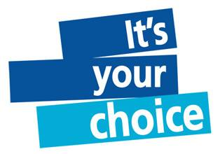 "Image description: three blue rectangles stacked on top of each other each with one word in it in white sans serif font. Starting at the top it says ""It's your choice."""