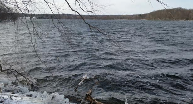 Fresh Pond reservoir, with dark choppy waves