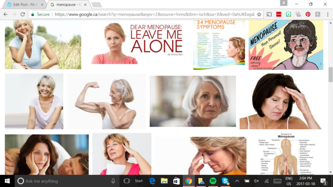 "Image description: Google image search results for a search for ""menopause."" Lots of white white with grey hair, frowning."
