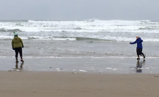 A woman on the right, heading toward a woman on the left, both on the beach on a stormy day