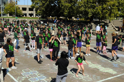 World record hopscotch activity in Portland, Oregon