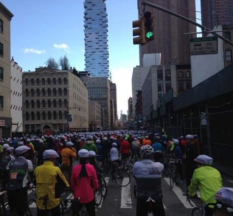 Thousands of cyclists lined up for the 730 am start. New York looks different without cars.