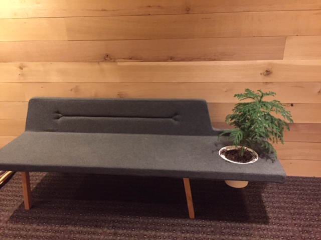 A gray fabric covered bench, with a small potted plant embedded in it.