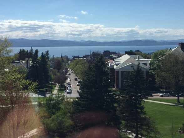 view of Burlington VT and Lake Champlain from the 5th floor of the Old Mill building at UVM,