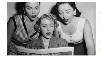 Three women reading the newspaper with shocked looks.