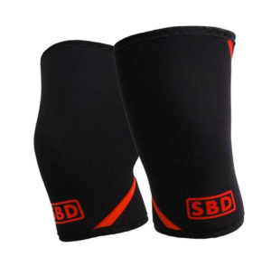 Image shows two bent tubes of neoprene fabric in black with red accents