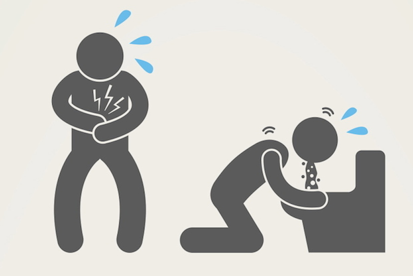 Grey cartoon figure standing and holding stomach in first image, then kneeling in front of the toilet vomiting in the second. Sweat emanates (indicated as blue drops) from brow in both frames.