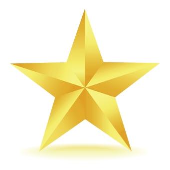 three dimensional gold star