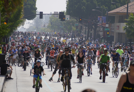 Hundreds of cyclists riding down a city street, with a small boy riding in the foreground.