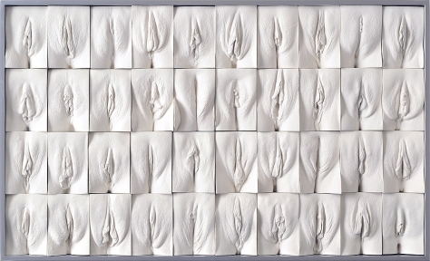 """Image description: white plaster panel with four rows, each containing 10 white plaster casts of different vaginas, set into a rectangular tile. Each is different. From Jamie McCarthy's """"The Great Wall of Vagina."""