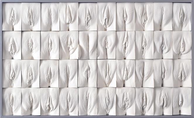 "Image description: white plaster panel with four rows, each containing 10 white plaster casts of different vaginas, set into a rectangular tile. Each is different. From Jamie McCarthy's ""The Great Wall of Vagina."