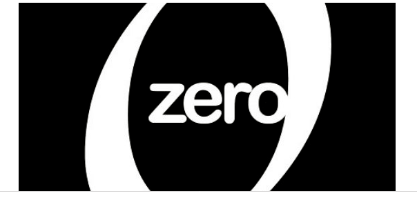 "The word ""zero"" in white, surrounded by a numeric zero on a black background."