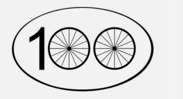 A graphic of the number 100, featuring two bike wheels as the zeros.
