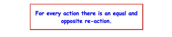 """Newton's third law of motion, which reads """"for every action there is an equal and opposite reaction""""."""