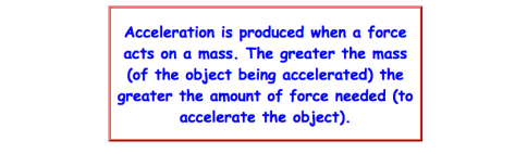Acceleration is produced when a force acts on a mass. The greater the mass (of the object being accelerated) the greater the amount of force needed (to accelerate the object).