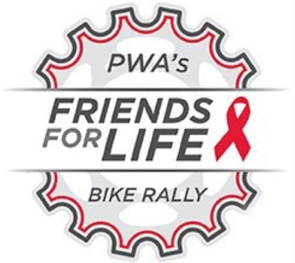 logo for the PWA friends for life bike rally, with red ribbon