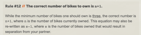 rule 12, saying that the minimum number of bikes to own is 3, but the correct number is n+1, where n is the number of bikes you already own.