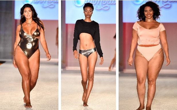 Image description: three panels side by side, each a colour picture of a model on a catwalk in the Sports Illustrated swimsuit fashion show. Left is a curvy woman, tanned, with long dark hair, wearing a gold one-piece swimsuit. Middle is a slender woman of clour with short dark hair, a silver bikini bottom and a cropped loose long-sleeved top, bare midriff. Right is a smiling woman of colour with medium length dark hair, wearing a belted one piece with a scooped neck and capped sleeves. All three are in bare feet.