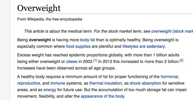 "The Wikipedia page for ""overweight"". It's chock-full of normative words which I discuss below."