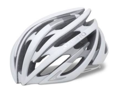 a white road cycling helmet, with silver accents
