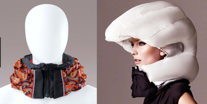 Two views of an inflatable bike helmet, worn on the left as a scarf/collar, and on the right as an inflated helmet/hood, surrounding the head and neck.