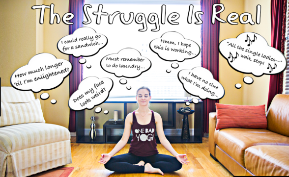 A woman sitting in a yoga pose, with random thoughts going through her head while she's trying to meditate.