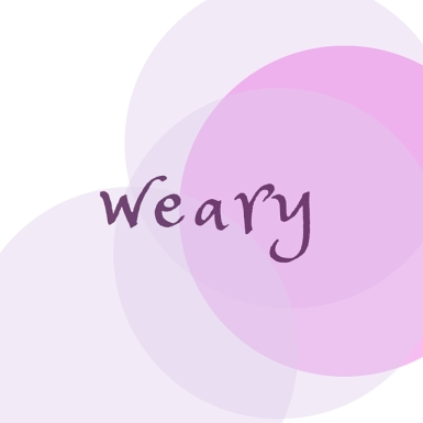 image description: the word weary, written in a casual purple, lowercase script-like font, over a white background and lighter purple.