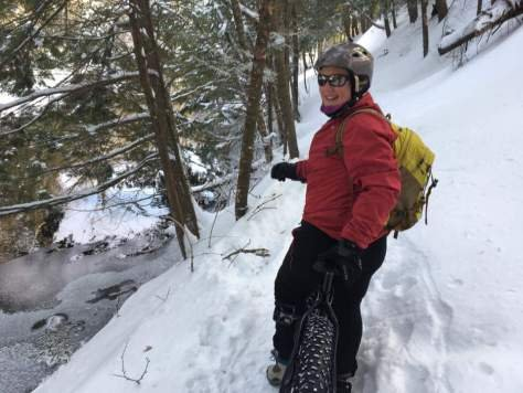 Sam on a fat bike in the snow