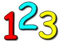 Image description: Cartoonish numbers 1 (in red), 2 (in blue) and 3 (in yellow) against a plain white background.