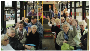 Seniors riding a bus