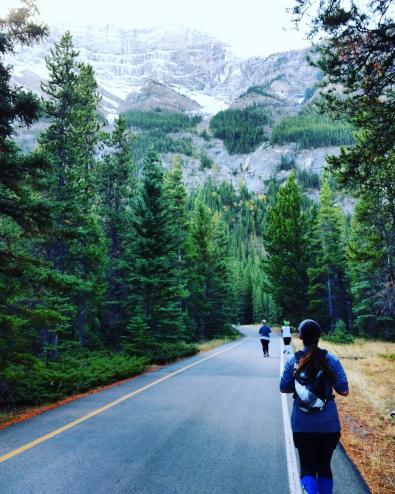 image description: Road stretching out ahead with three runners in front, green pines on the side, and high, rocky, snowy mountains as a backdrop.